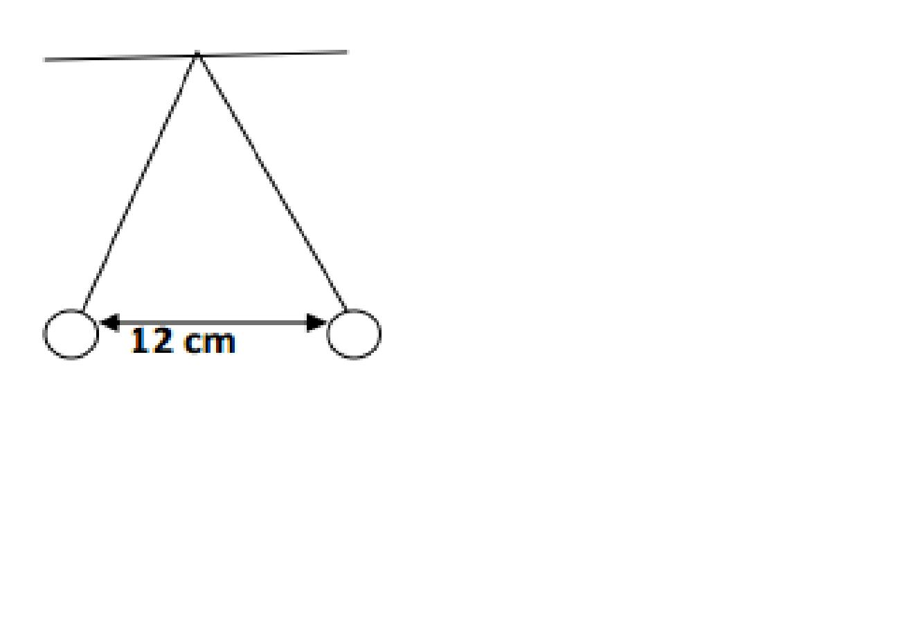 Two small objects each of mass 15 g hang from thre