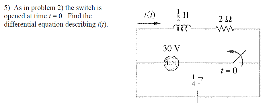 As in problem 2) the switch is opened at time t =