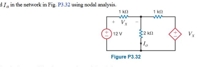 Find Io in the network in Fig. P3.32 using nodal a