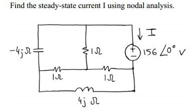 Find the steady-state current I using nodal analys