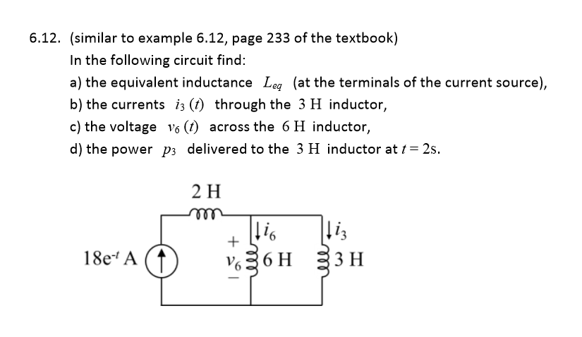 In the following circuit find: the equivalent ind