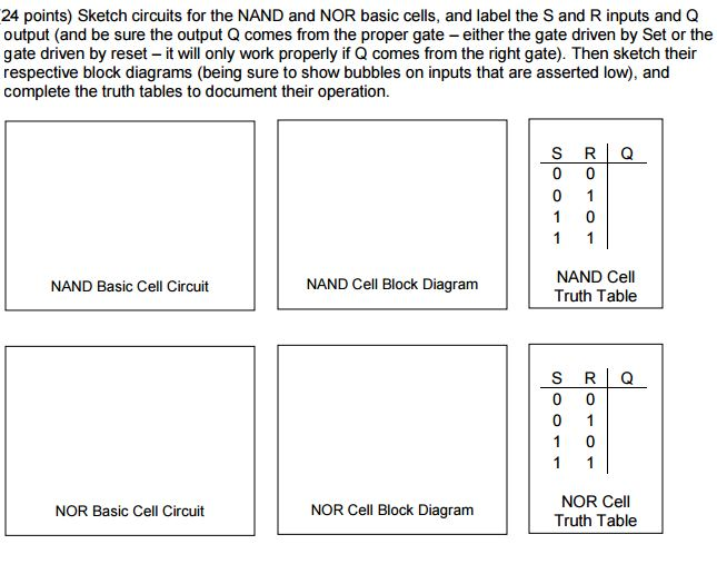 Solved: Sketch Circuits For The NAND And NOR Basic Cells ...