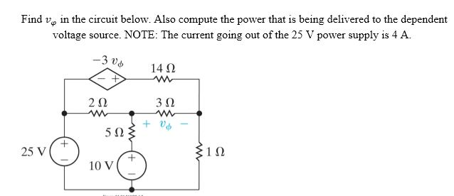 Find v phi in the circuit below. Also compute the