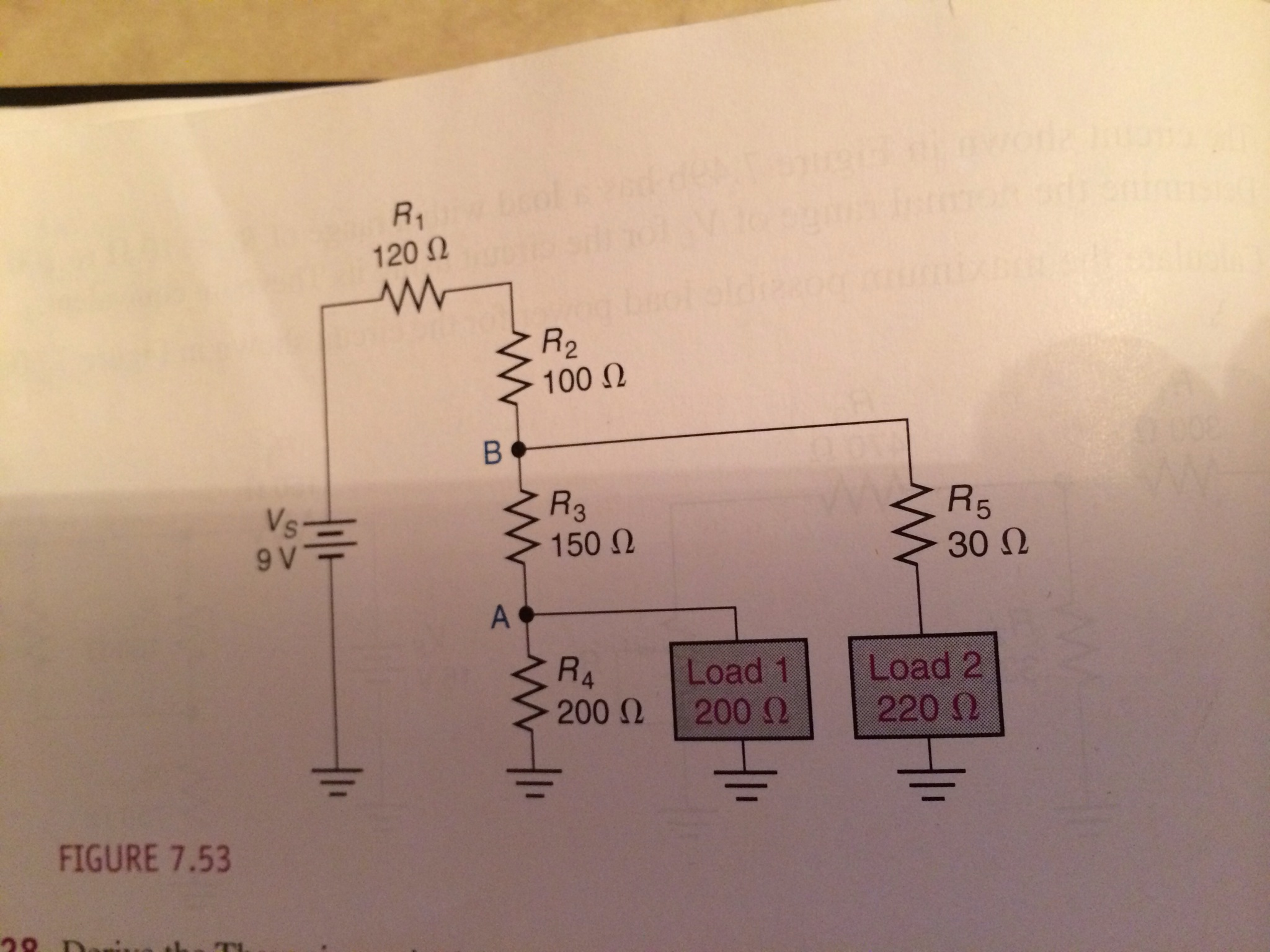 Derive the Thevenin equivalent circuit for load 1