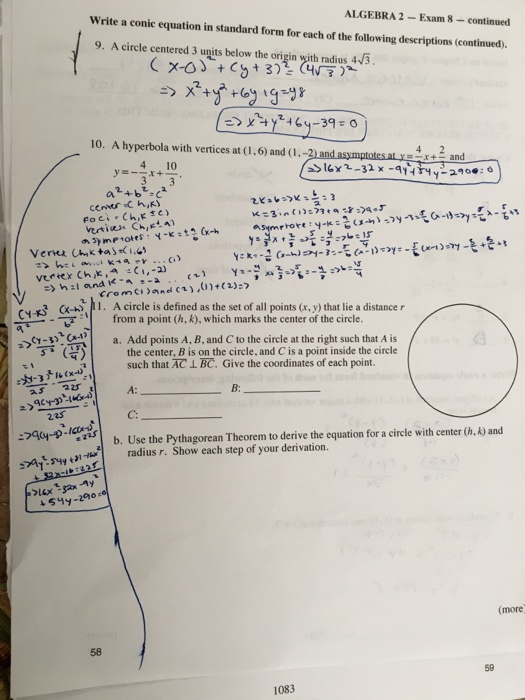 Solved Write A Conic Equation In Standard Form For Each O