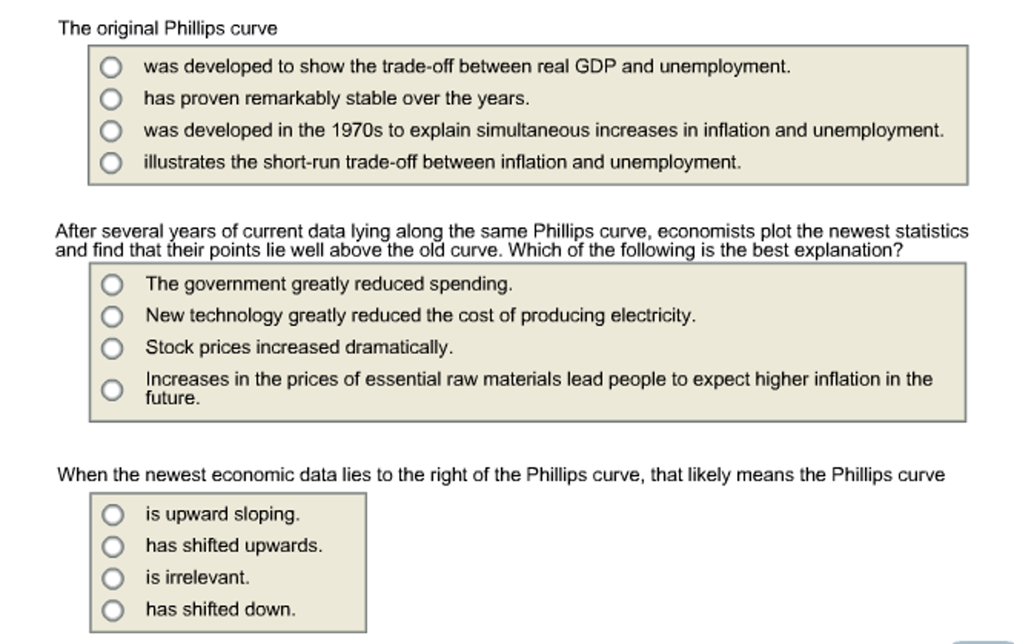 the original phillips curve was developed to show com question the original phillips curve was developed to show