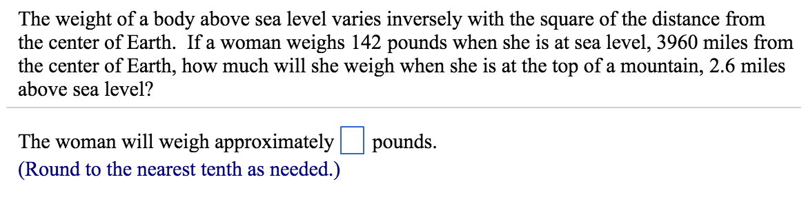 The Weight Of A Body Above Sea Level Varies Invers Cheggcom - Distance above sea level