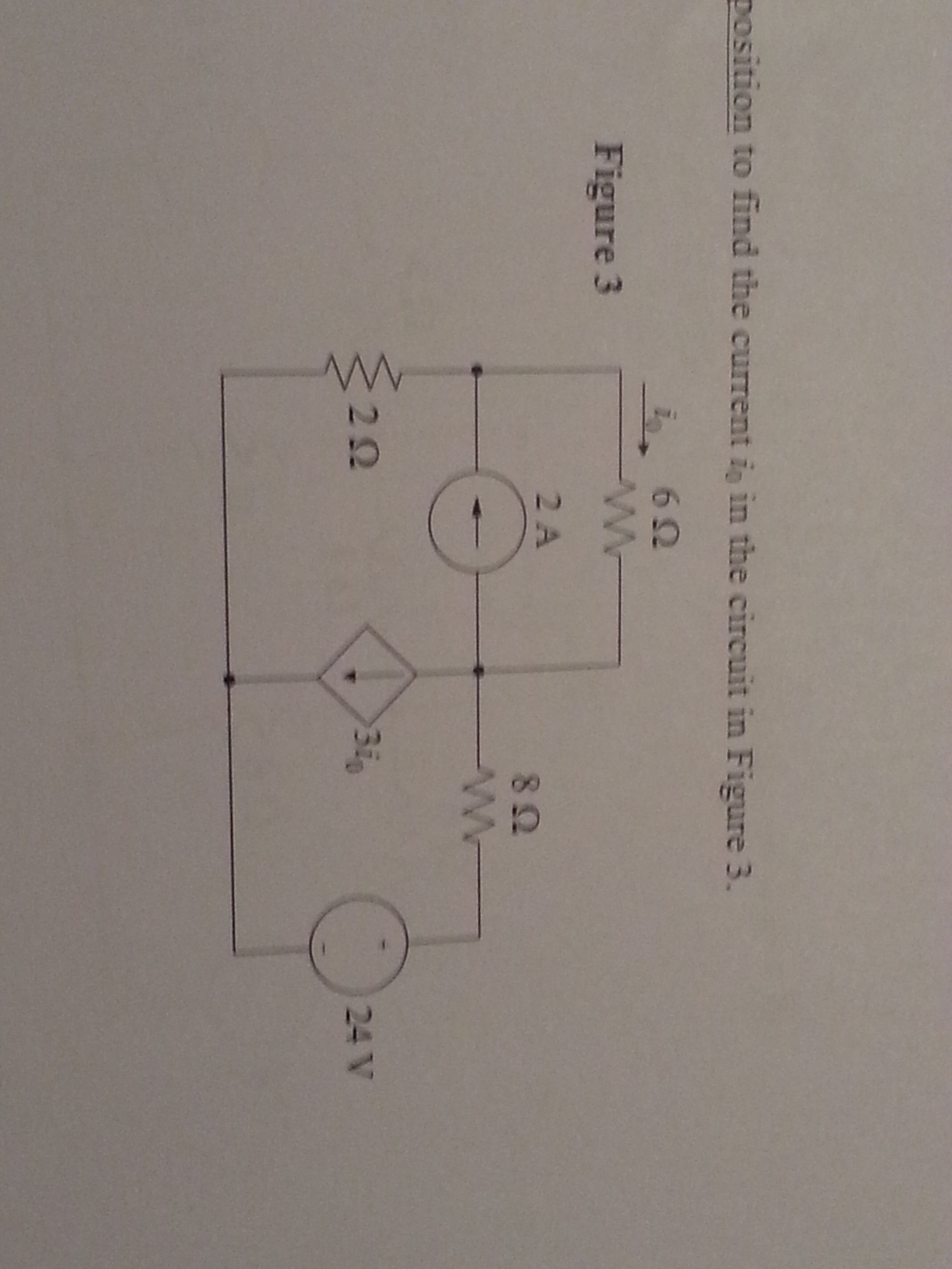 position to find the current i0 the circuit in Fig