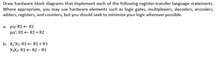 Solved draw hardware block diagrams that implement each o image for draw hardware block diagrams that implement each of the following register transfer language ccuart Choice Image