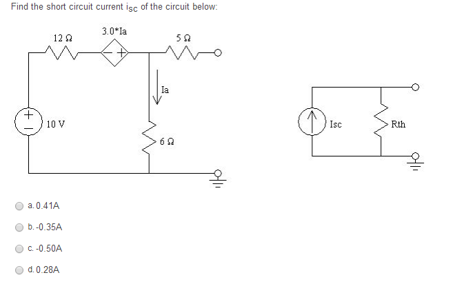 Find the short circuit current isc of the circuit