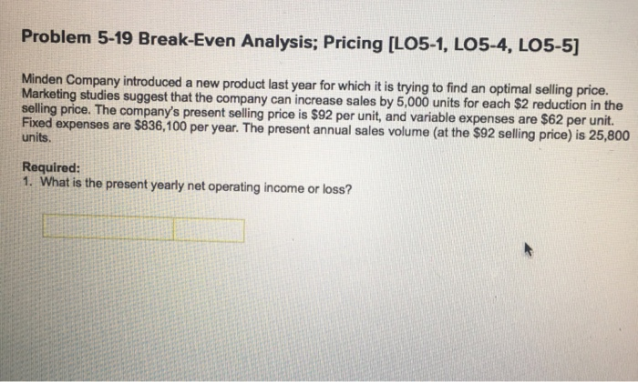 Solved Problem  BreakEven Analysis Pricing Ilo