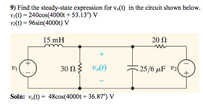Find the steady-state expression for vo(t) in the