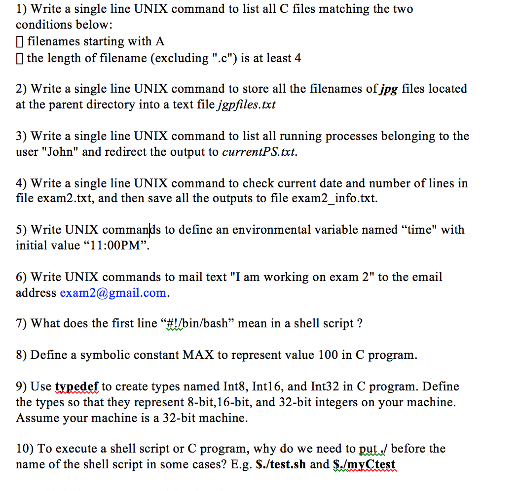Solved Write A Single Line Unix Command To List All C Fil
