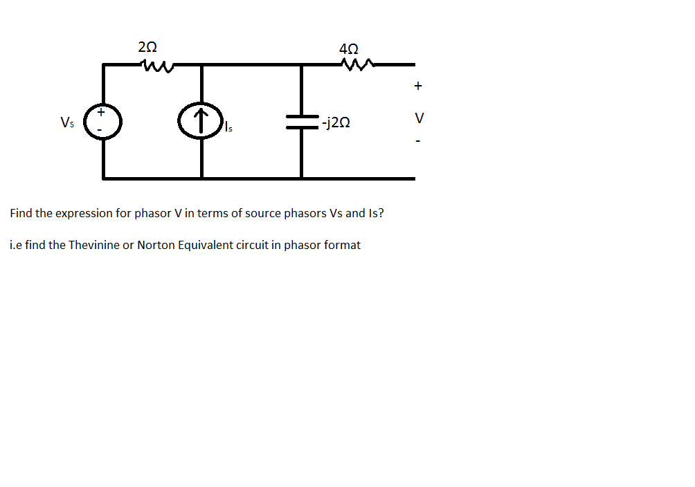 Find the expression for phasor V in terms of sourc