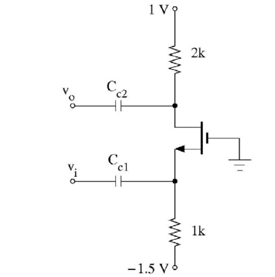 For the following CG amplifier, Compute the Bias p