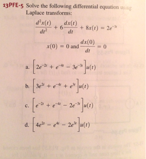 Solve the following differential equation using La