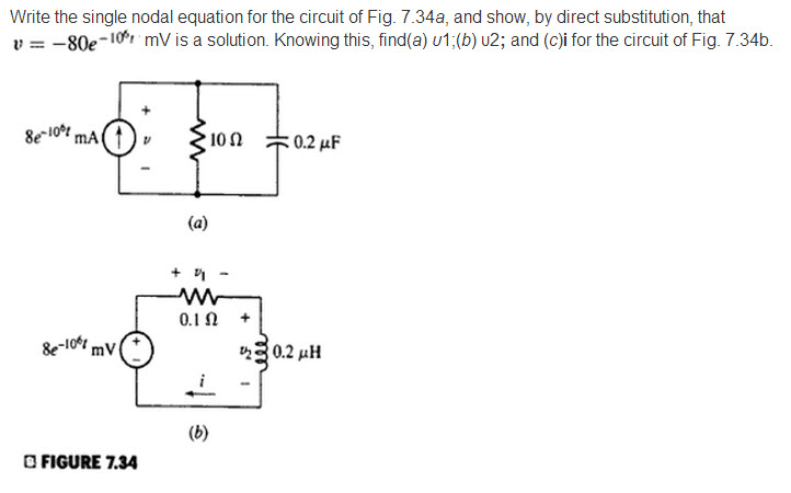 Write the single nodal equation for the circuit of