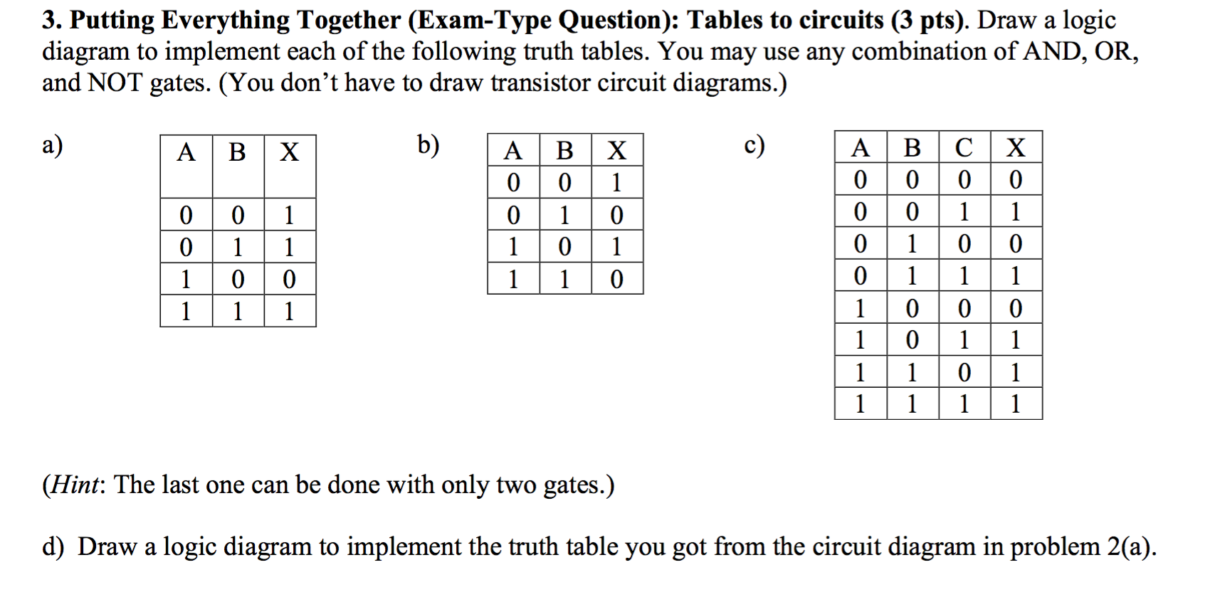 Draw Circuit Diagram From Truth Table A Solved Logic To Implement Each