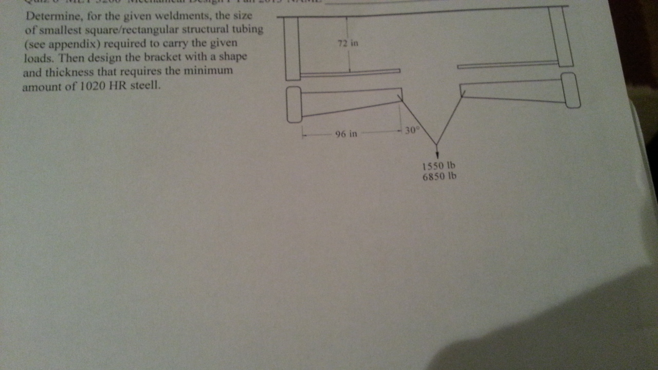 Determine, for the given weldments, the size of sm