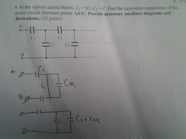 In the infinite circuit below, C1 = 2C, C2 = C. Fi