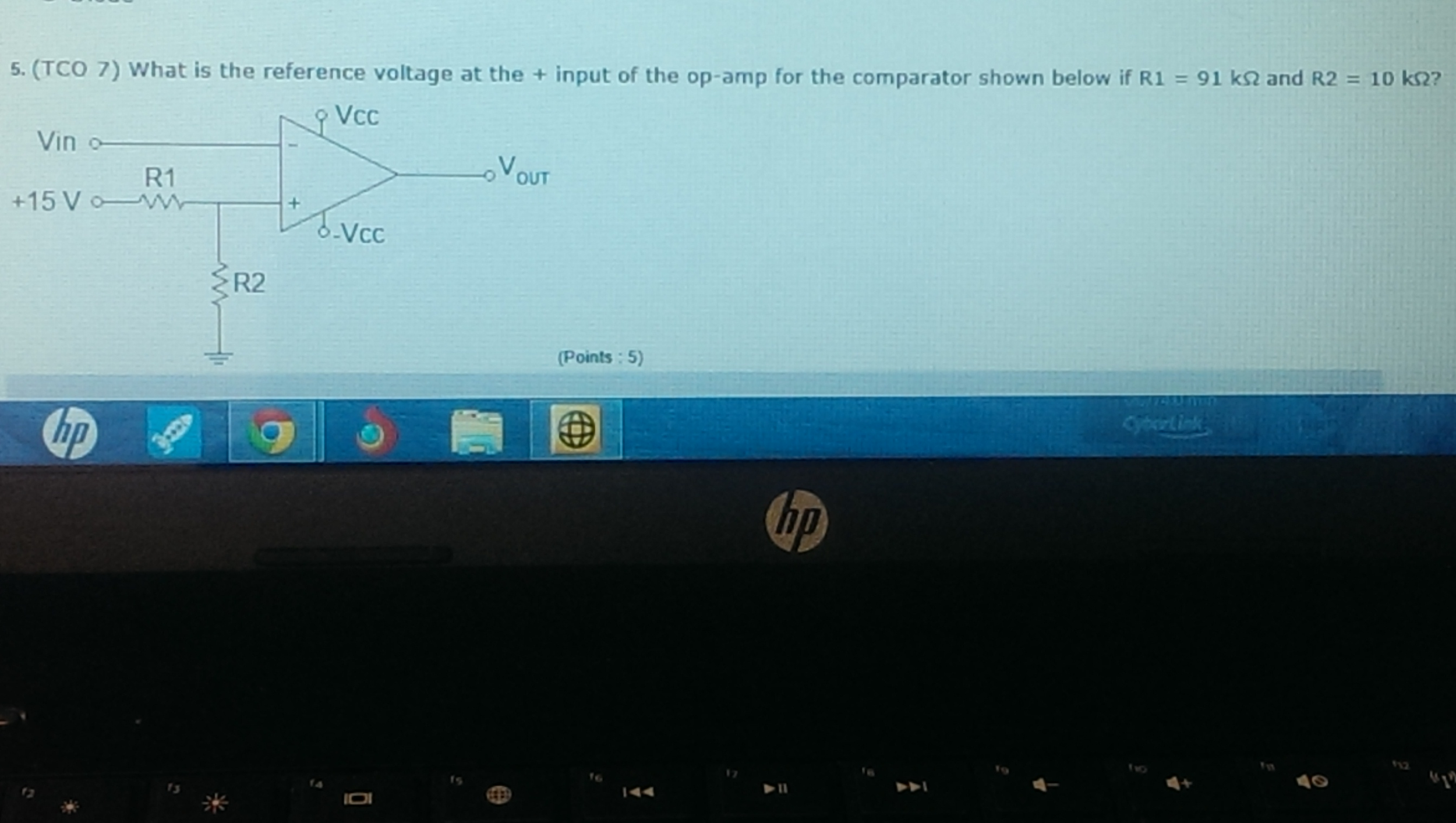 What is the reference voltage at the + input of th