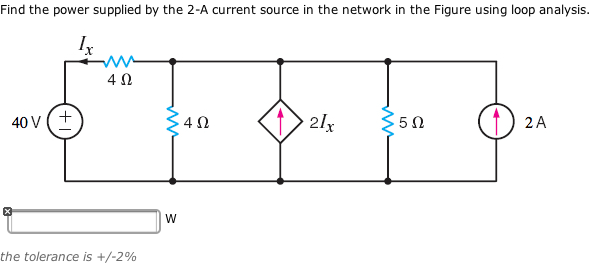 Find the power supplied by the 2-A current source