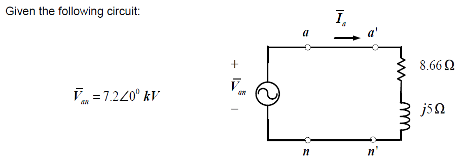 Given the following circuit. Recall the ac circui