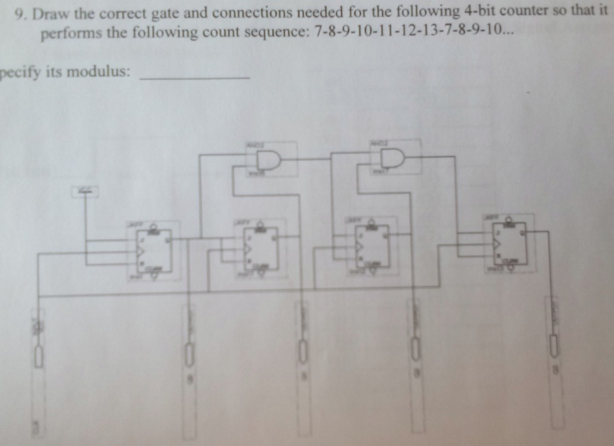Draw the correct gate and connections needed for t