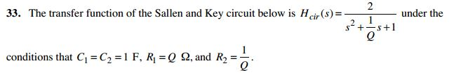 The transfer function of the Sallen and Key circui