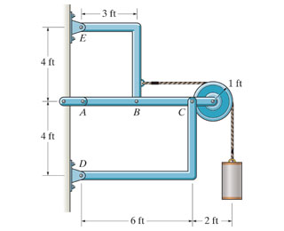 The suspended cylinder has a weight of 54 lb . De