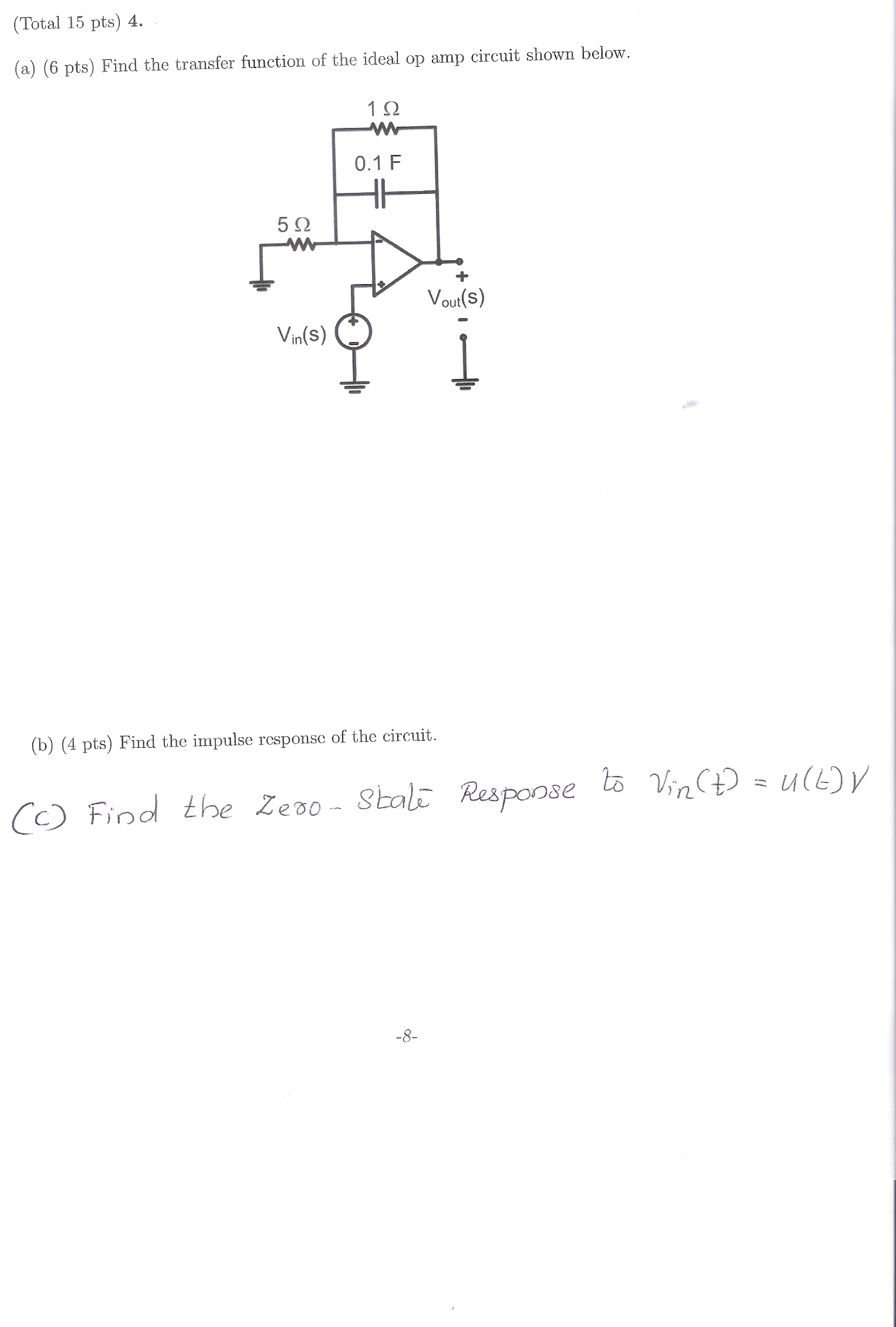 Find the transfer function of the ideal op amp cir