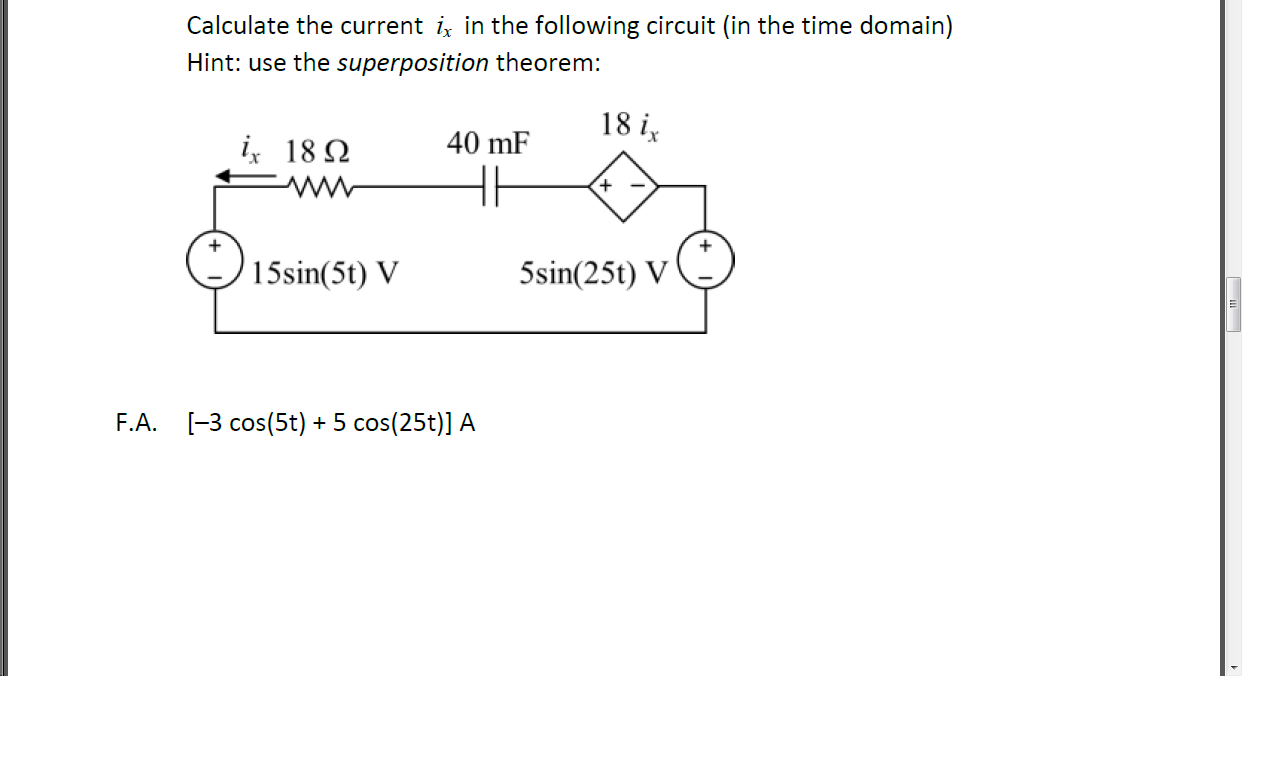 Calculate the current ix in the following circuit