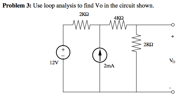 Use loop analysis to find Vo in the circuit shown.