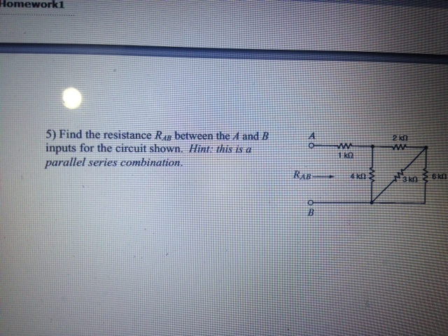 Find the resistance RAB between the A and B inputs