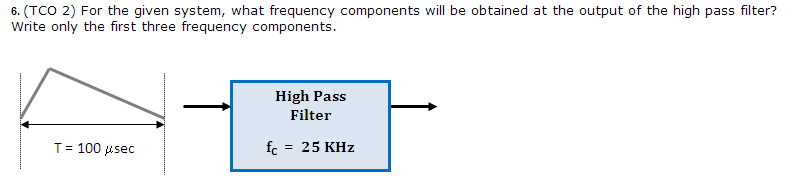 (TCO 2) For the given system, what frequency compo