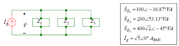 What is V? Find the impedance values for Z1, Z2