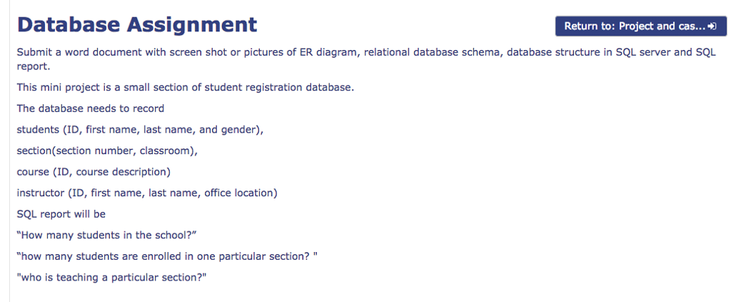 Solved database assignment return to project and cas sub show transcribed image text database assignment return to project and cas submit a word document with screen shot or pictures of er diagram ccuart Gallery