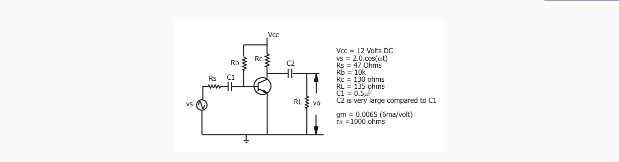 For the ciurcuit above the input voltage Vs is a s
