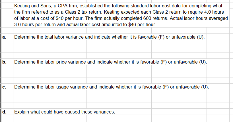 Question: Keating and Sons, a CPA firm, established the following standardlabor cost data for completing w...