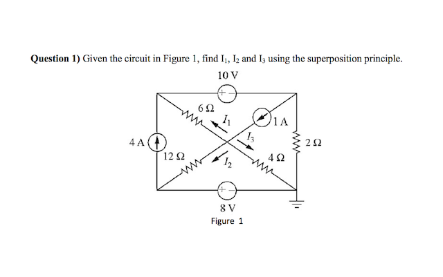 Given the circuit in Figure 1, find I1, I2 and I3