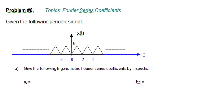 Coefficients Given the following periodic signal: