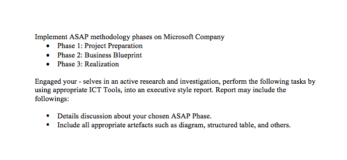 Implement asap methodology phases on microsoft com chegg implement asap methodology phases on microsoft company phase 1 project preparation phase 2 business malvernweather Gallery