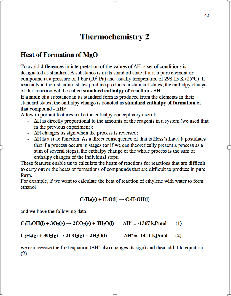 Explain to me in a paragraph what the objectives chegg 42 thermochemistry 2 heat of formation of mgo to avoid differences in interpretation of the values falaconquin