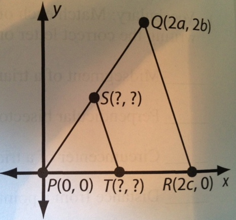 find coordinates of midpoint S of PQ and midpoint
