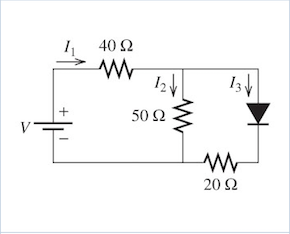 Determine the current through the diode for the ci