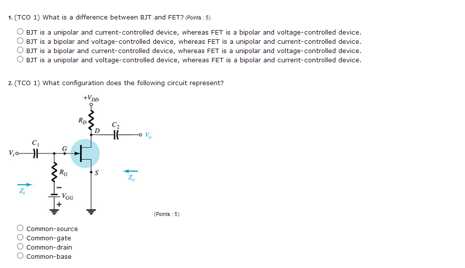 What is a difference between BJT and FET? BJT is
