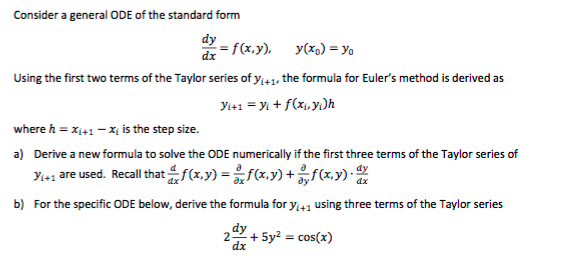 Solved Consider A General Ode Of The Standard Form Dydx
