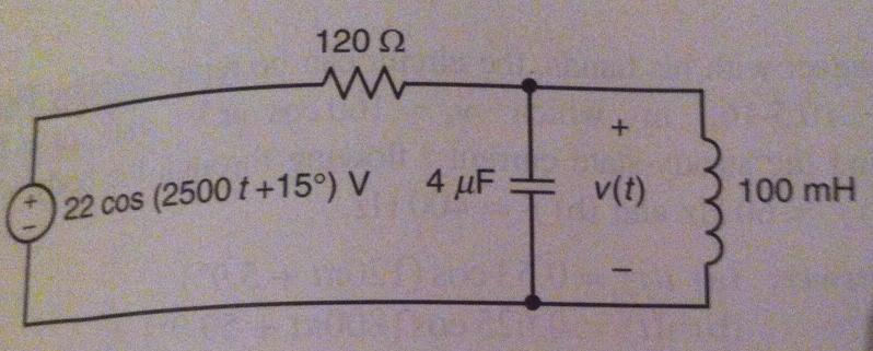 Determine voltage v(t) in the circuit shown. I kno