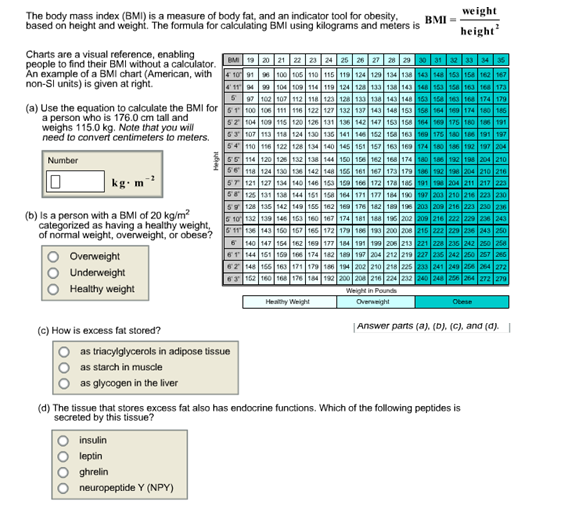 Biochemistry bmi calculation help please the bod chegg the formula for calculating bmi using kilograms and meters is biochemistry bmi calculation help please the bod ccuart Images