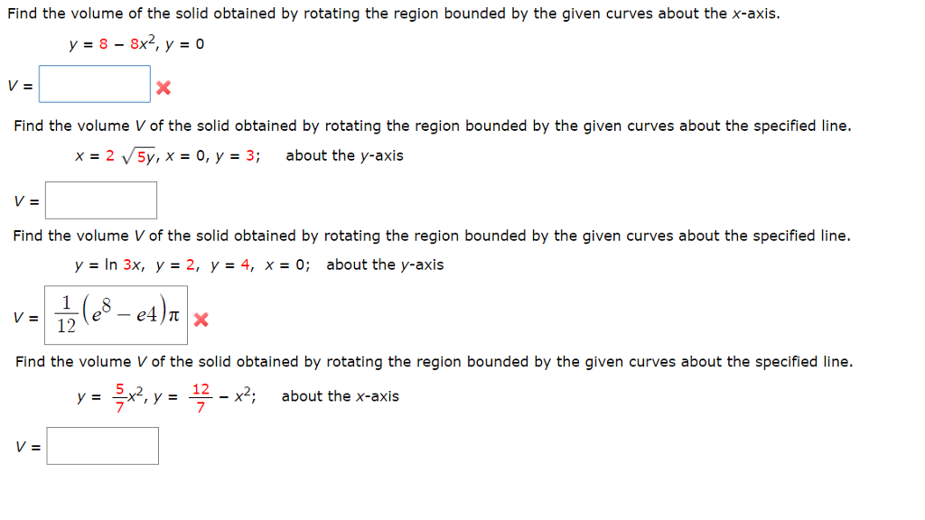 Find the volume of the solid obtained by rotating chegg find the volume of the solid obtained by rotating the region bounded by the given curves ccuart Image collections